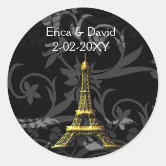 gold Eiffel Tower French wedding Seals Classic Round Sticker