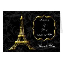 Gold Eiffel tower French Wedding Thank You Card