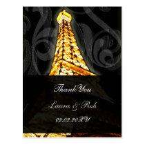 Gold Eiffel tower French Wedding Thank You Postcard