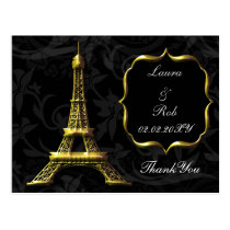 Gold Eiffel tower French Wedding Thank You Postcard