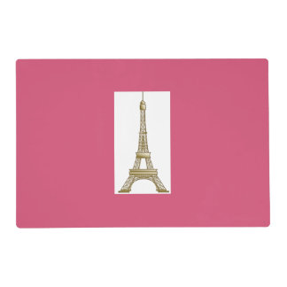 Gold Eiffel Tower Hot Pink Placemat Laminated Placemat