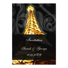 Glowing Eiffel Tower Paris  Wedding Invitations