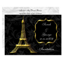 gold eiffel tower Paris wedding invitation