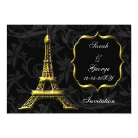 Gold Eiffel Tower Paris   Wedding Invitations
