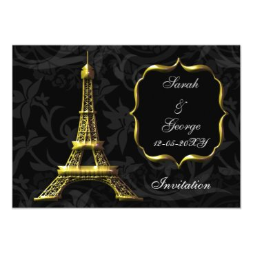 gold eiffel tower Paris wedding invitation