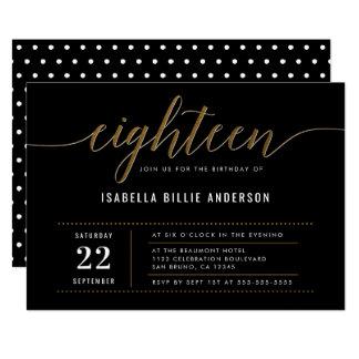 Gold Eighteen Script Birthday Party Invitations