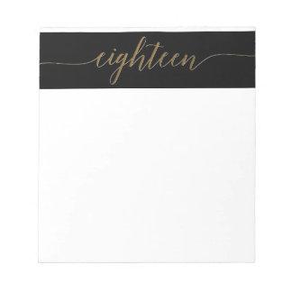 Gold Eighteen Script Birthday Party Notepad