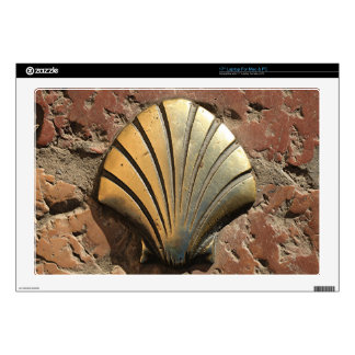"""Gold El Camino shell sign, pavement, Leon, Spain Decals For 17"""" Laptops"""