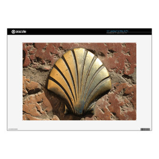 Gold El Camino shell sign, pavement, Leon, Spain Decals For Laptops