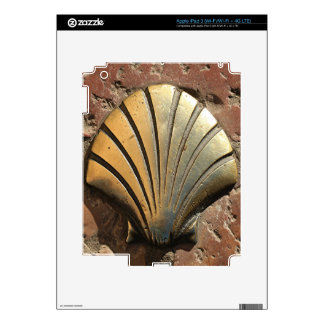 Gold El Camino shell sign, pavement, Leon, Spain iPad 3 Decal