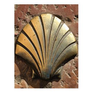 Gold El Camino shell sign, pavement, Leon, Spain Postcard