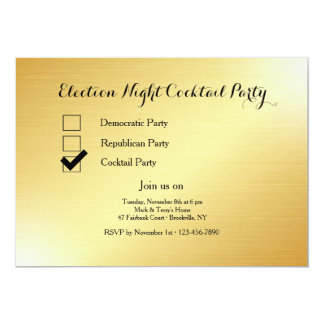Gold Election Night Cocktail Party Card