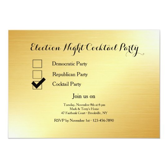 Gold Election Night Cocktail Party Invitation