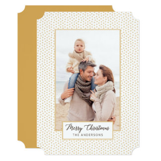 Gold Elegance Merry Christmas Modern Photo Card
