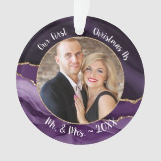 Gold Elegance Our 1st Christmas as Mr & Mrs Photo Ornament