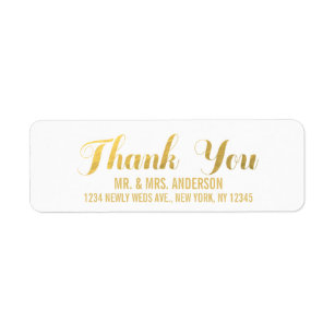 Gold Elegance Wedding Thank You Label