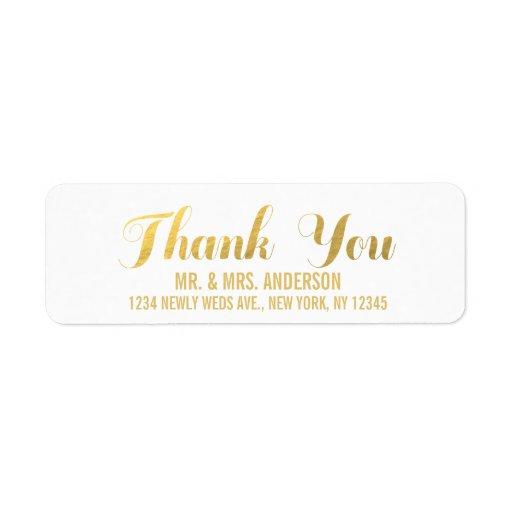 Gold Elegance Wedding Thank You Labels