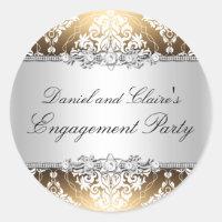 Gold Elegant Damask Engagement Party Sticker