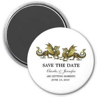 Gold Elegant Dragons Save the Date Magnet