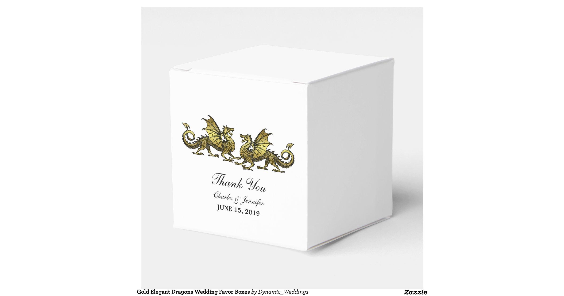 Wedding Favor Boxes Trinidad : Gold elegant dragons wedding favor boxes zazzle