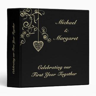 Gold Elegant Heart Wedding Anniversary Binder