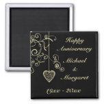 Gold Elegant Heart Wedding Anniversary 2 Inch Square Magnet