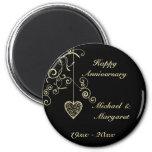 Gold Elegant Heart Wedding Anniversary Memento 2 Inch Round Magnet