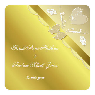 Gold Elegant Lace Wedding Invitation Card