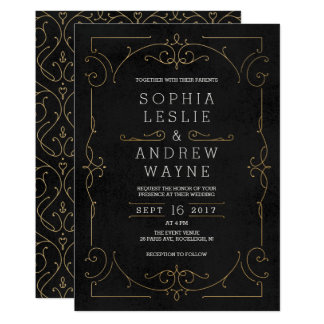 Gold elegant modern classic vintage wedding card