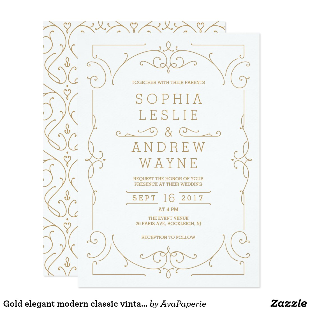 Gold elegant modern classic vintage wedding invitation
