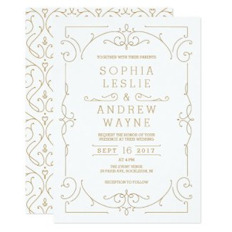 Gold elegant modern classic vintage wedding invitation