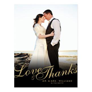 Gold Elegant Modern Love Thanks White Postcard
