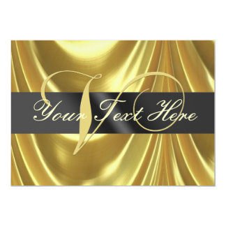 Gold Elegant Monogram Letter V 5x7 Paper Invitation Card