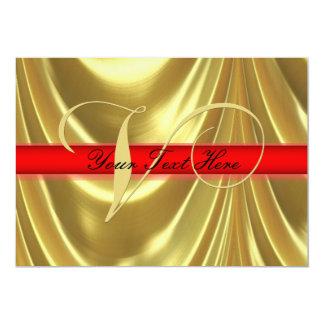 Gold Elegant Monogram Letter V Red 5x7 Paper Invitation Card