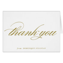 Gold Elegant Script Personalized Thank You Card