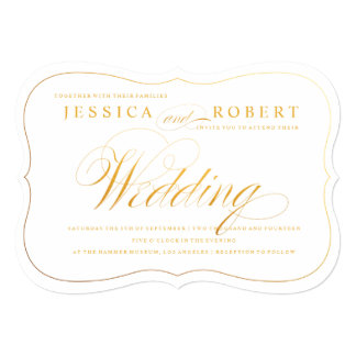 Gold Elegant Script Wedding Invitation