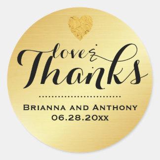 Gold Elegant Script Wedding Thank You Sticker