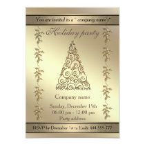 Gold Elegant trendy holiday party corporate Invitation