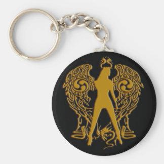 Gold Emboss Serpent Angel Keychain