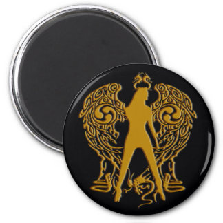 Gold Emboss Serpent Angel Magnet
