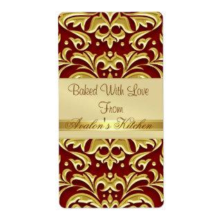 Gold Embossed  Damask Red Holiday Baking Label