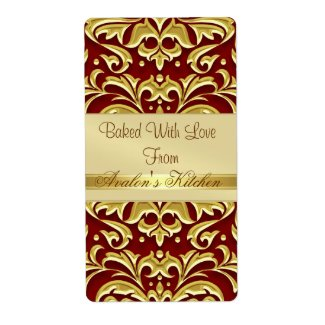 Gold Embossed Damask Red Holiday Baking Label