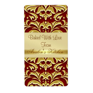 Gold Embossed  Damask Red Holiday Baking Label Shipping Label