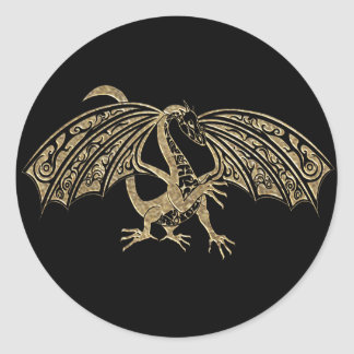 Gold Embossed Dragon Fantasy Classic Round Sticker