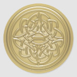 Gold Embossed Effect Celtic Knot Badge Stickers