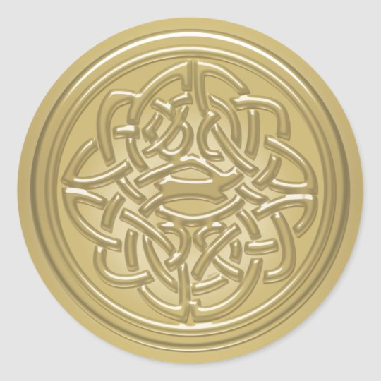 Gold Embossed Effect Celtic Knot Badge Stickers Zazzle