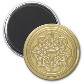 Gold Embossed Effect Cletic Knot 2 Inch Round Magnet