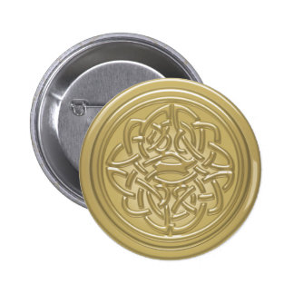 Gold Embossed Effect Cletic Knot Badge 2 Inch Round Button