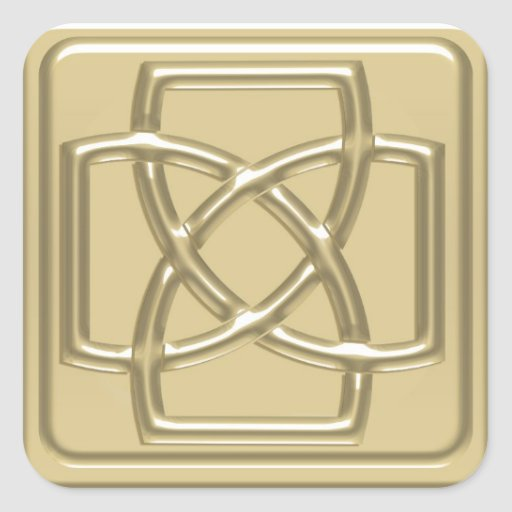 Gold Embossed Effect Cletic Knot Badge Square Sticker