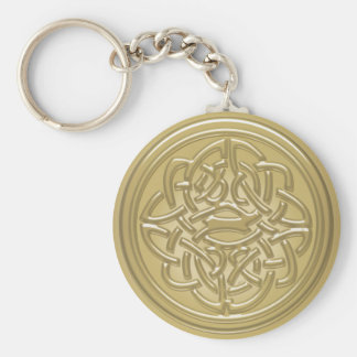 Gold Embossed Effect Cletic Knot Basic Round Button Keychain